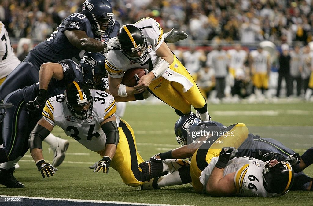 Quarterback Ben Roethlisberger #7 of the Pittsburgh Steelers leaps into the end zone for a 1 yard touchdown in the second quarter against the Seattle Seahawks in Super Bowl XL at Ford Field on February 5, 2006 in Detroit, Michigan.