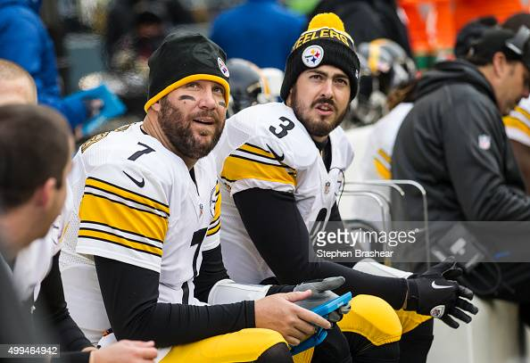 Quarterback Ben Roethlisberger of the Pittsburgh Steelers looks up from a Microsof Surface during a football game at CenturyLink Field on November 29...