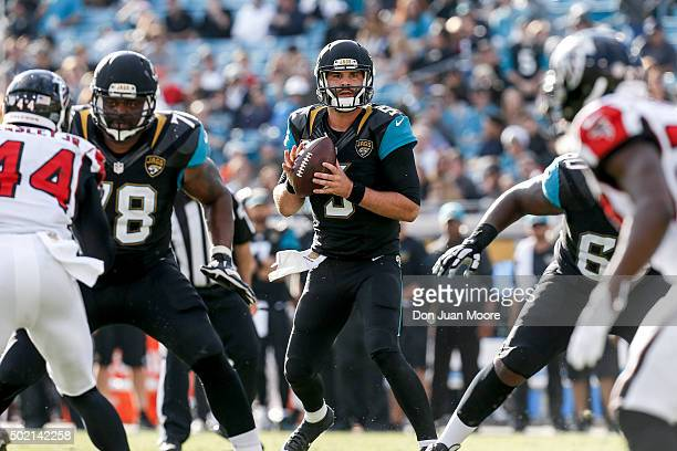 Quarterback Blake Bortles of the Jacksonville Jaguars drops back for a pass play during the game against the Atlanta Falcons at EverBank Field on...