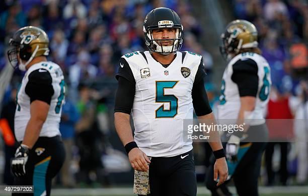 Quarterback Blake Bortles of the Jacksonville Jaguars looks on during a break in play against the Baltimore Ravens at MT Bank Stadium on November 15...