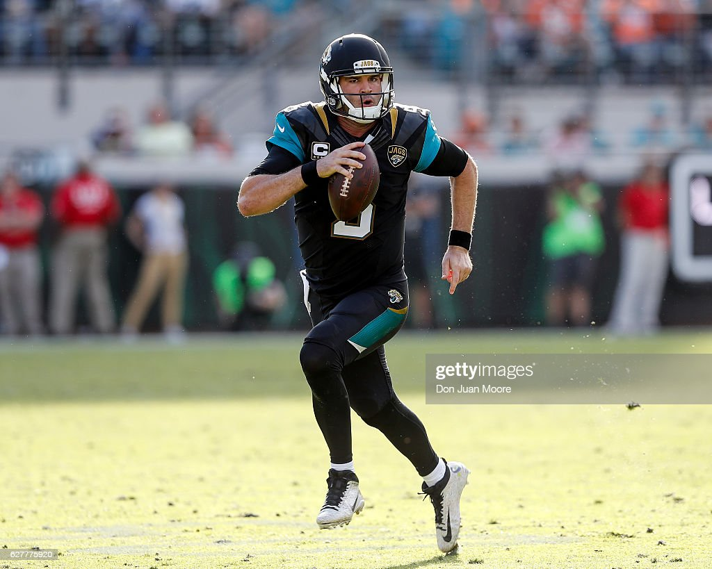 Quarterback Blake Bortles #5 of the Jacksonville Jaguars makes a run out of bounds during the game against the Denver Broncos at EverBank Field on December 4, 2016 in Jacksonville, Florida. The Broncos defeated the Jaguars 20 to 10.