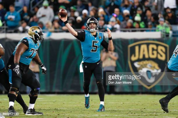 Quarterback Blake Bortles of the Jacksonville Jaguars on a passing play during the game against the Seattle Seahawks at EverBank Field on December 10...