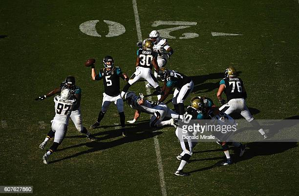 Quarterback Blake Bortles of the Jacksonville Jaguars throws from the pocket against the San Diego Chargers during the 2nd half of a game at Qualcomm...