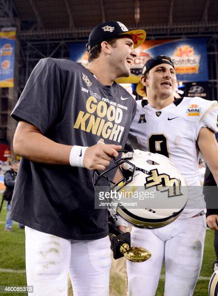 Quarterback Blake Bortles of the UCF Knights walks off the field after defeating the Baylor Bears 5242 in the Tostitos Fiesta Bowl at University of...