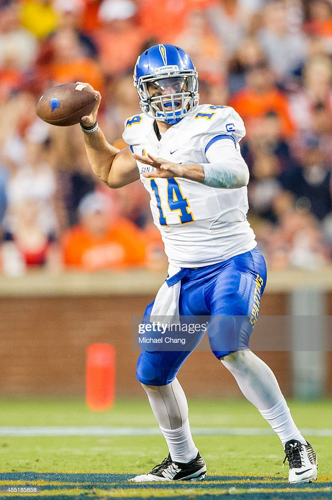 Quarterback Blake Jurich of the San Jose State Spartans looks to throw the ball during their game against the Auburn Tigers on September 6 2014 at...