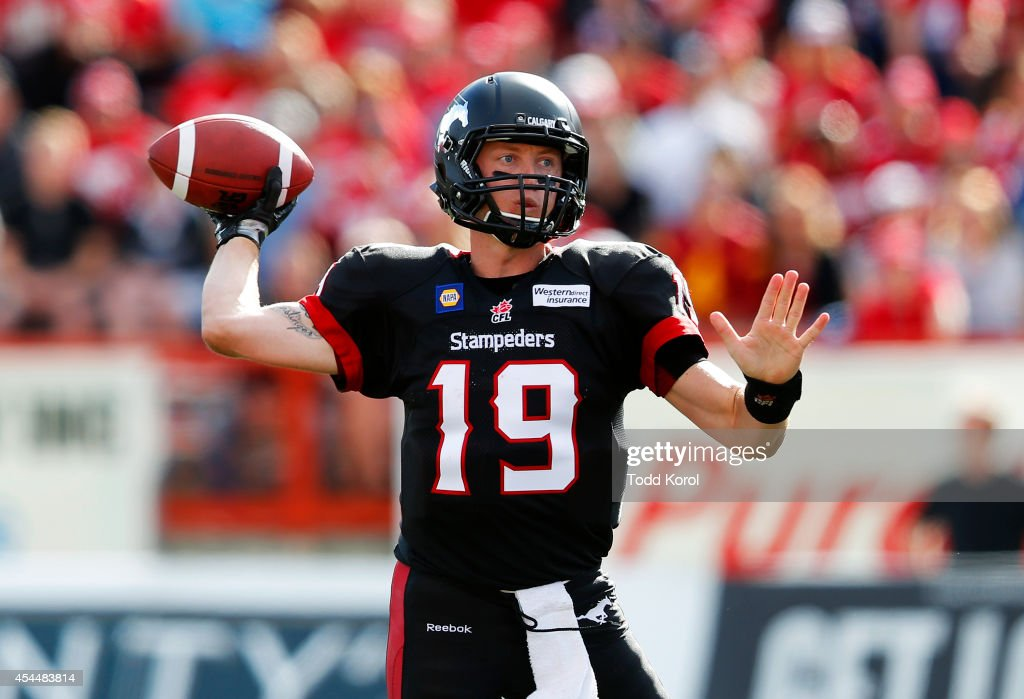 Quarterback Bo Levi Mitchell #19 of the Calgary Stampeders throws a pass against the Edmonton Eskimos in the second half of their CFL football game September 1, 2014 at McMahon Stadium in Calgary, Alberta, Canada.