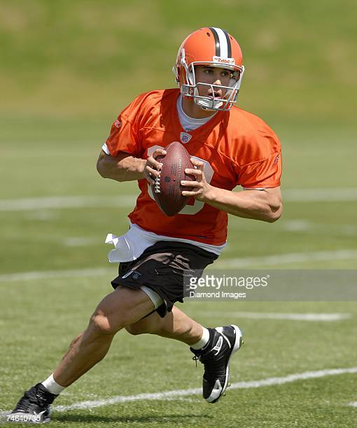 Quarterback Brady Quinn during the Cleveland Browns rookie and free agent mini camp on May 4 2007 at the Browns Practice Facility in Berea Ohio