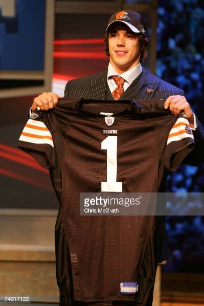 Quarterback Brady Quinn of Notre Dame poses for photos after being drafted 22nd overall by the Cleveland Browns during the 2007 NFL Draft on April 28...