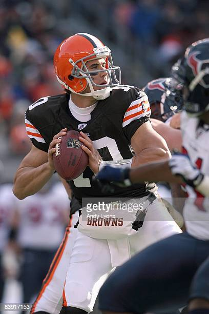 Quarterback Brady Quinn of the Cleveland Browns looks to pass the ball during the NFL game against the Houston Texans at Cleveland Browns Stadium on...