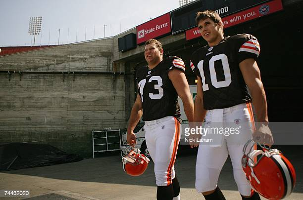 Quarterback Brady Quinn of the Cleveland Browns walks to the field with team mate offensive tackle Joe Thomas at the 2007 NFL Players Rookie Premiere...