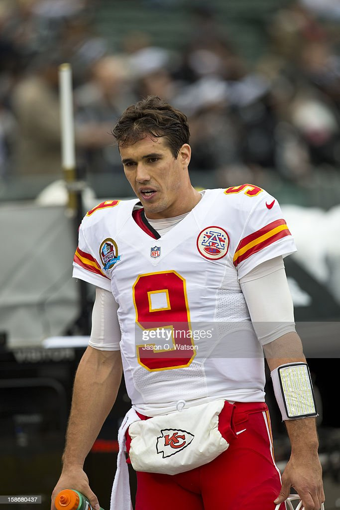 Quarterback Brady Quinn #9 of the Kansas City Chiefs before the game against the Oakland Raiders at O.co Coliseum on December 16, 2012 in Oakland, California. The Oakland Raiders defeated the Kansas City Chiefs 15-0. Photo by Jason O. Watson/Getty Images)