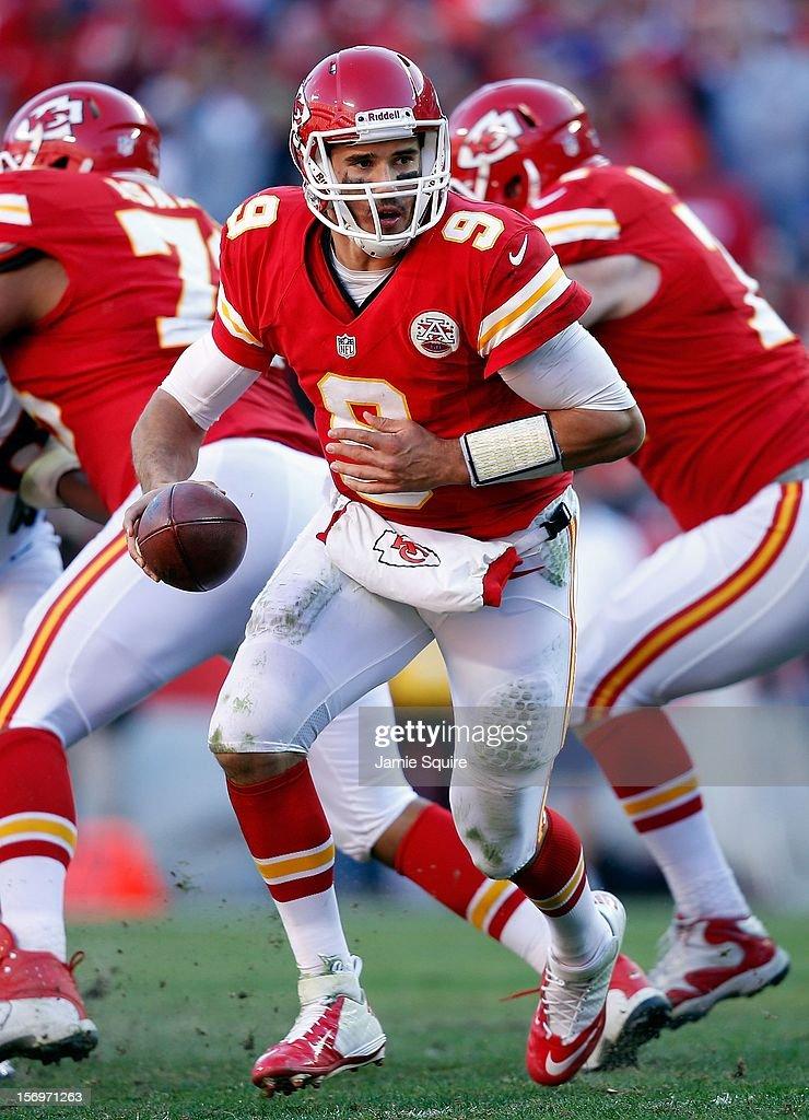Quarterback Brady Quinn #9 of the Kansas City Chiefs in action during the game against the Denver Broncos at Arrowhead Stadium on November 25, 2012 in Kansas City, Missouri.