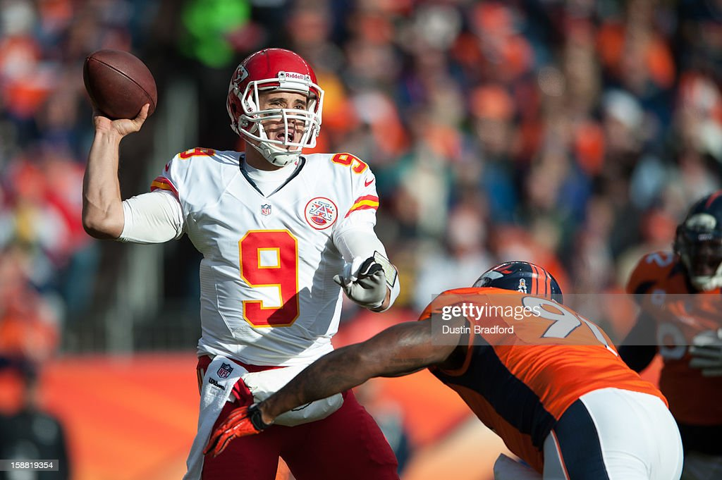 Quarterback Brady Quinn #9 of the Kansas City Chiefs passes against the Denver Broncos during a game at Sports Authority Field Field at Mile High on December 30, 2012 in Denver, Colorado.