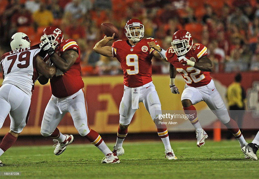 Quarterback <a gi-track='captionPersonalityLinkClicked' href=/galleries/search?phrase=Brady+Quinn&family=editorial&specificpeople=228717 ng-click='$event.stopPropagation()'>Brady Quinn</a> #9 of the Kansas City Chiefs throws a pass down field against the Arizona Cardinals during the first half on August 10, 2012 at Arrowhead Stadium in Kansas City, Missouri. Kansas City defeated Arizona 27-17.