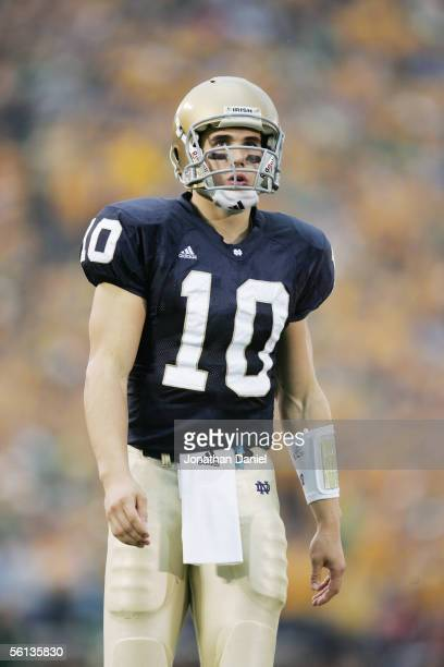 Quarterback Brady Quinn of the Notre Dame Fighting Irish looks on against the Tennessee Volunteers on November 5 2005 at Notre Dame Stadium in South...