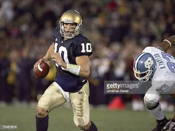 Quarterback Brady Quinn of the Notre Dame Fighting Irish runs the ball during the game against the North Carolina Tar Heels on November 4 2006 at...
