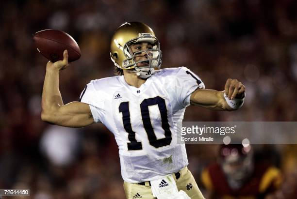 Quarterback Brady Quinn of the Notre Dame Fighting Irish throws against the USC Trojans in the first half of their game on November 25 2006 at the...