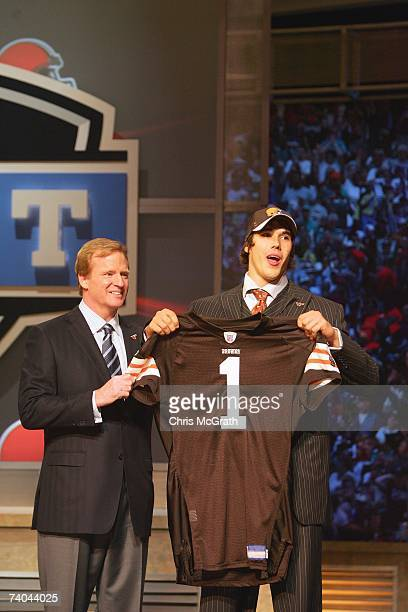 Quarterback Brady Quinn poses for a photo with NFL Commissioner Roger Goodell after being drafted by the Cleveland Browns during the 2007 NFL Draft...