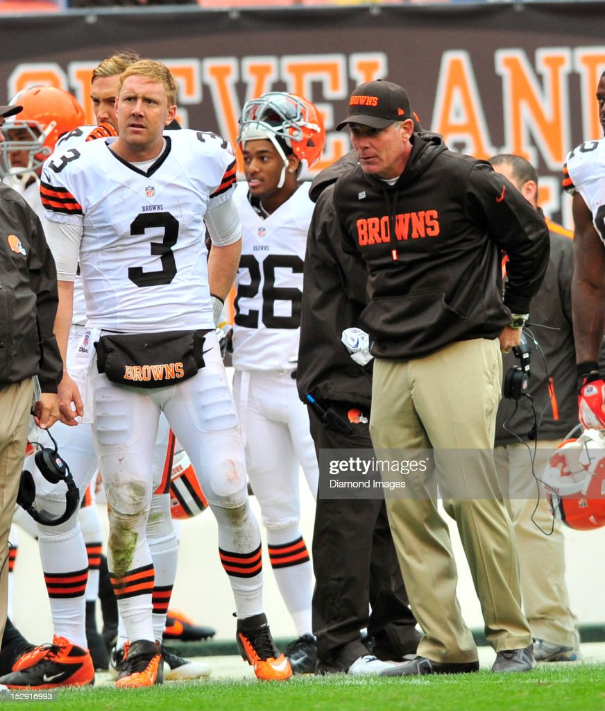 Quarterback <a gi-track='captionPersonalityLinkClicked' href=/galleries/search?phrase=Brandon+Weeden&family=editorial&specificpeople=7125737 ng-click='$event.stopPropagation()'>Brandon Weeden</a> #3 and head coach <a gi-track='captionPersonalityLinkClicked' href=/galleries/search?phrase=Pat+Shurmur&family=editorial&specificpeople=763455 ng-click='$event.stopPropagation()'>Pat Shurmur</a> of the Cleveland Browns reacts to having thrown an interception late in the 4th quarter during a game with the Buffalo Bills at Cleveland Browns Stadium in Cleveland, Ohio. The Bill won 24-14.