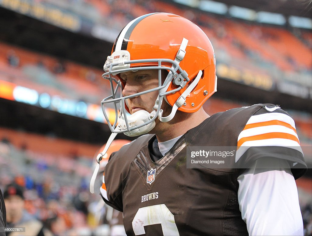Quarterback <a gi-track='captionPersonalityLinkClicked' href=/galleries/search?phrase=Brandon+Weeden&family=editorial&specificpeople=7125737 ng-click='$event.stopPropagation()'>Brandon Weeden</a> #3 of the Cleveland Browns frowns while walking to the locker room after a game against the Jacksonville Jaguars at FirstEnergy Stadium in Cleveland, Ohio. The Jaguars won 32-28.