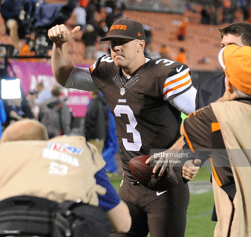 Quarterback Brandon Weeden #3 of the Cleveland Browns gives the thumbs up as he jogs off the field after a gams against the Buffalo Bills at FirstEnergy Stadium in Cleveland, Ohio. The Browns won 37-24.