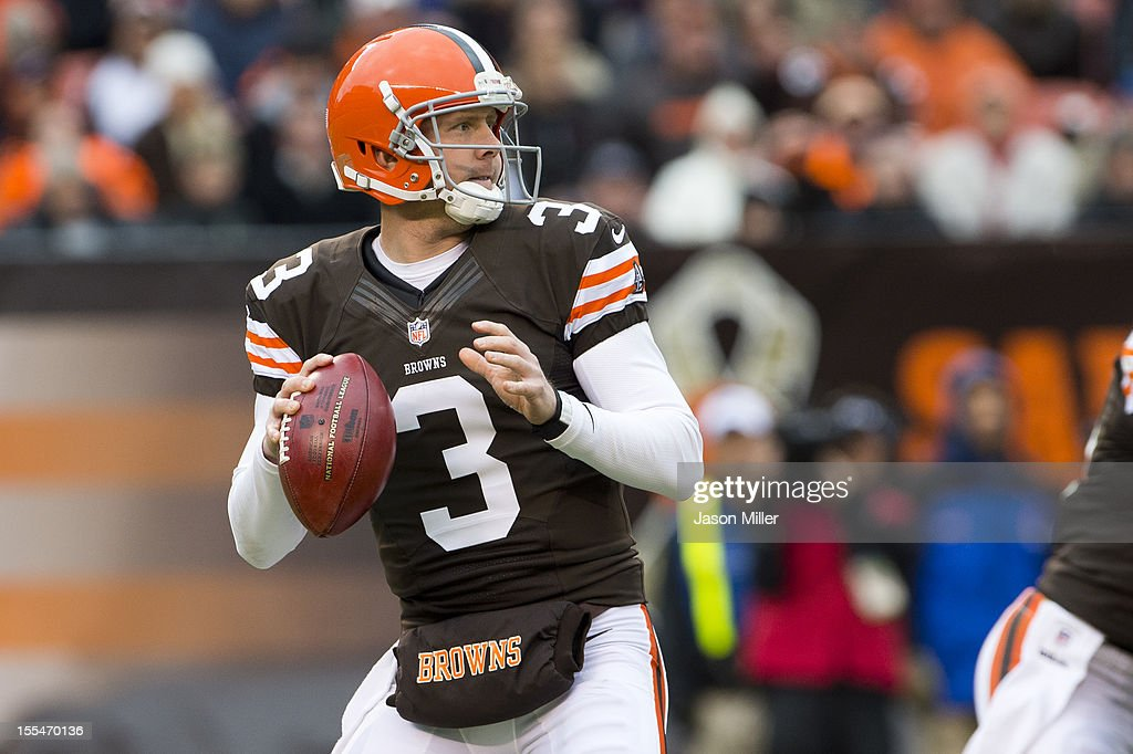 Quarterback Brandon Weeden #3 of the Cleveland Browns looks down field for a receiver during the first half against the Baltimore Ravens at Cleveland Browns Stadium on November 4, 2012 in Cleveland, Ohio.