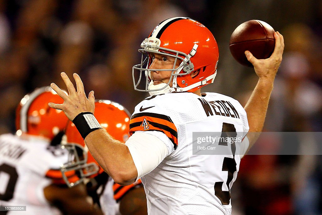Quarterback <a gi-track='captionPersonalityLinkClicked' href=/galleries/search?phrase=Brandon+Weeden&family=editorial&specificpeople=7125737 ng-click='$event.stopPropagation()'>Brandon Weeden</a> #3 of the Cleveland Browns looks to throw the ball against the Baltimore Ravens during the NFL Game at M&T Bank Stadium on September 27, 2012 in Baltimore, Maryland.