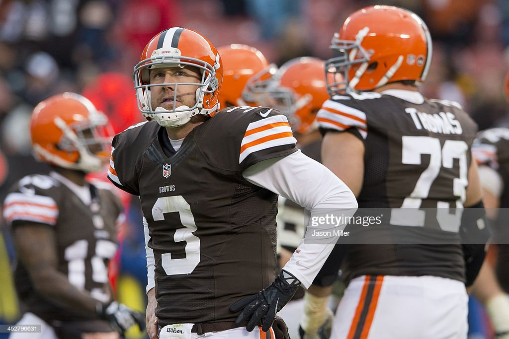 Quarterback <a gi-track='captionPersonalityLinkClicked' href=/galleries/search?phrase=Brandon+Weeden&family=editorial&specificpeople=7125737 ng-click='$event.stopPropagation()'>Brandon Weeden</a> #3 of the Cleveland Browns reacts after throwing an incomplete pass during the final seconds of the fourth quarter against the Jacksonville Jaguars at FirstEnergy Stadium on December 1, 2013 in Cleveland, Ohio. The Jaguars defeated the Browns 32-28.
