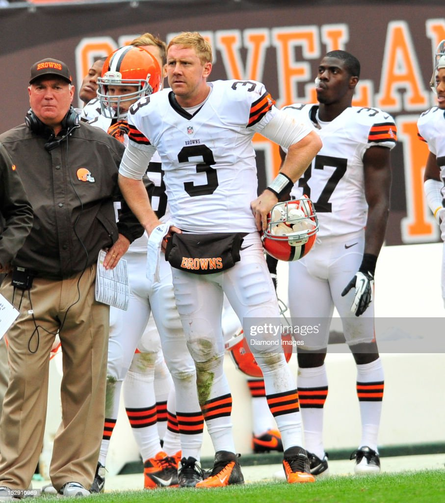 Quarterback <a gi-track='captionPersonalityLinkClicked' href=/galleries/search?phrase=Brandon+Weeden&family=editorial&specificpeople=7125737 ng-click='$event.stopPropagation()'>Brandon Weeden</a> #3 of the Cleveland Browns reacts to having thrown an interception late in the 4th quarter during a game with the Buffalo Bills at Cleveland Browns Stadium in Cleveland, Ohio. The Bill won 24-14.