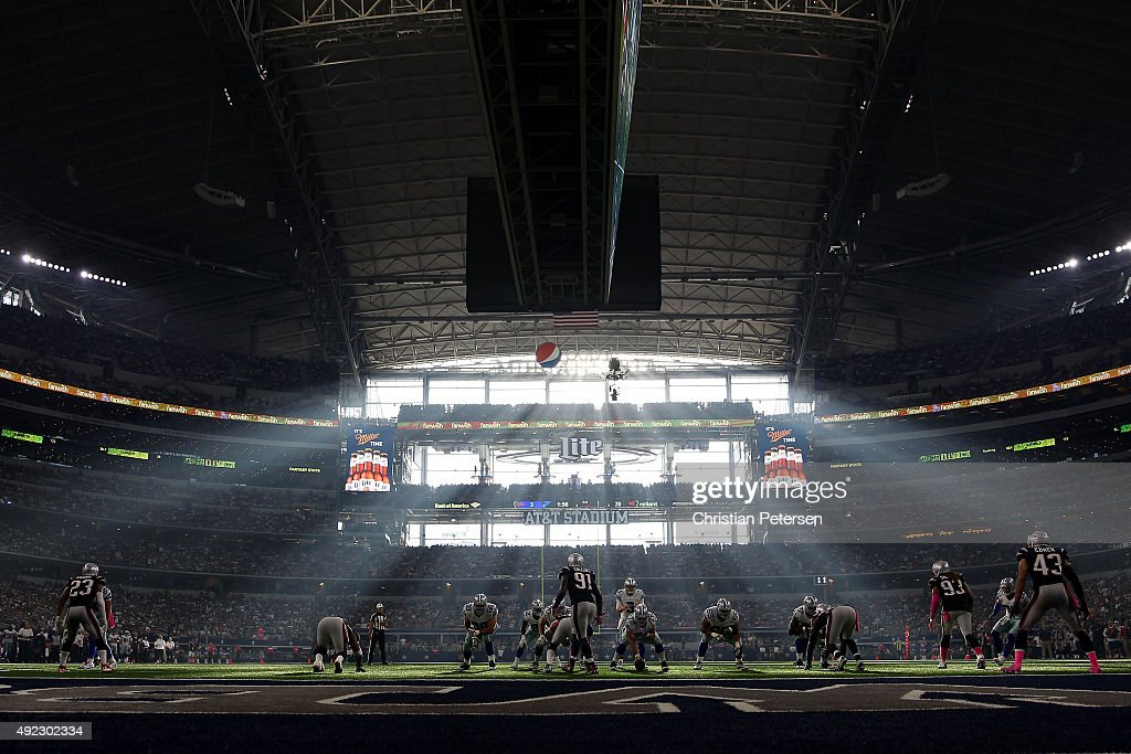 Quarterback <a gi-track='captionPersonalityLinkClicked' href=/galleries/search?phrase=Brandon+Weeden&family=editorial&specificpeople=7125737 ng-click='$event.stopPropagation()'>Brandon Weeden</a> #3 of the Dallas Cowboys prepares to snap the football during the second half of the NFL game against the New England Patriots at AT&T Stadium on October 11, 2015 in Arlington, Texas. The Patriots defeated the Cowboys 30-6.