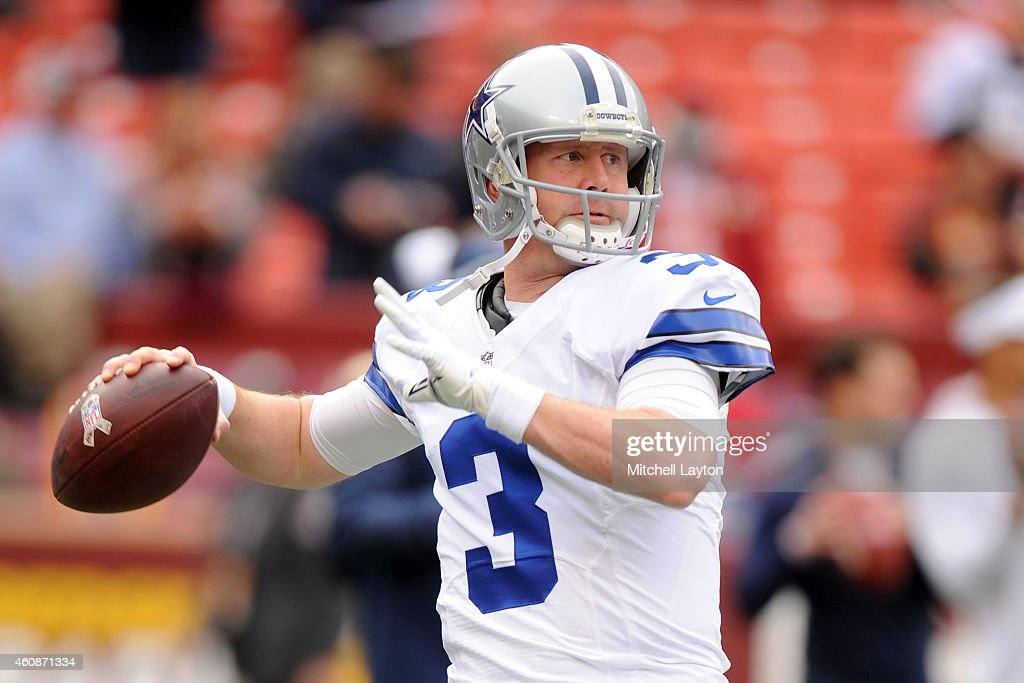 Quarterback <a gi-track='captionPersonalityLinkClicked' href=/galleries/search?phrase=Brandon+Weeden&family=editorial&specificpeople=7125737 ng-click='$event.stopPropagation()'>Brandon Weeden</a> #3 of the Dallas Cowboys warms up before a NFL football game against the Washington Redskins at FedExField on December 28, 2014 in Landover. Maryland.
