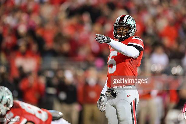 Quarterback Braxton Miller of the Ohio State Buckeyes calls a play against the Penn State Nittany Lions at Ohio Stadium on October 26 2013 in...
