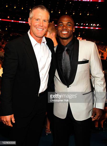 NFL quarterback Brett Favre and running back Adrian Petersen attend the 2010 ESPY Awards at Nokia Theatre LA Live on July 14 2010 in Los Angeles...