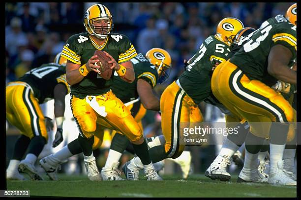 Quarterback Brett Favre of the Green Bay Packers in action against the Pittsburgh Steelers during an NFL game