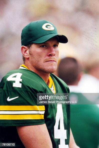 Quarterback Brett Favre of the Green Bay Packers looks on from the sideline in a 1999 game James Biever