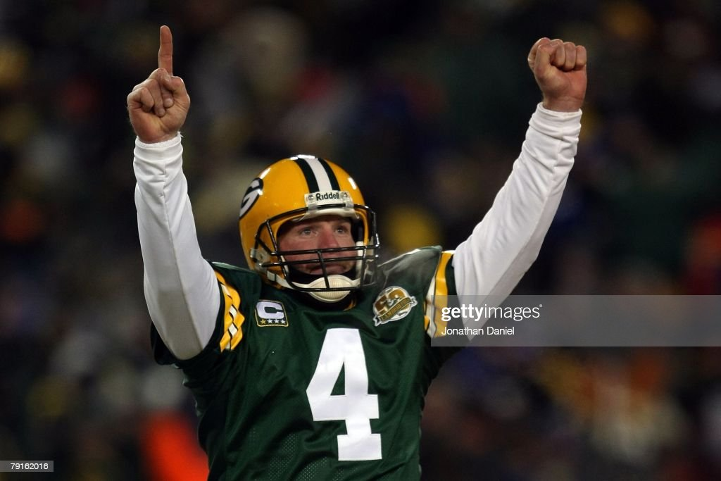 Quarterback Brett Favre of the Green Bay Packers reacts after a Packers touchdown during the NFC championship game against the New York Giants on...