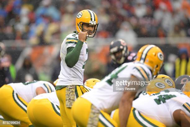 Quarterback Brett Hundley of the Green Bay Packers calls out the play in the second quarter against the Chicago Bears at Soldier Field on November 12...