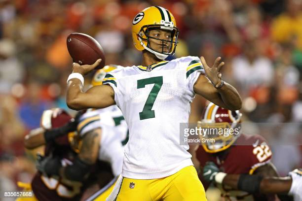 Quarterback Brett Hundley of the Green Bay Packers makes a pass against the Washington Redskins in the first half during a preseason game at...