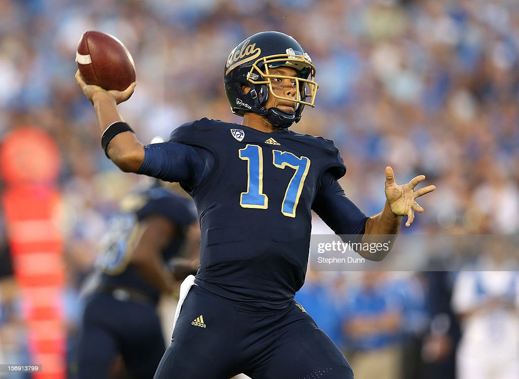 Quarterback <a gi-track='captionPersonalityLinkClicked' href=/galleries/search?phrase=Brett+Hundley&family=editorial&specificpeople=8674236 ng-click='$event.stopPropagation()'>Brett Hundley</a> #17 of the UCLA Bruins throws a pass against the Stanford Cardinal at the Rose Bowl on October 13, 2012 in Pasadena, California. Stanford won 35-17.