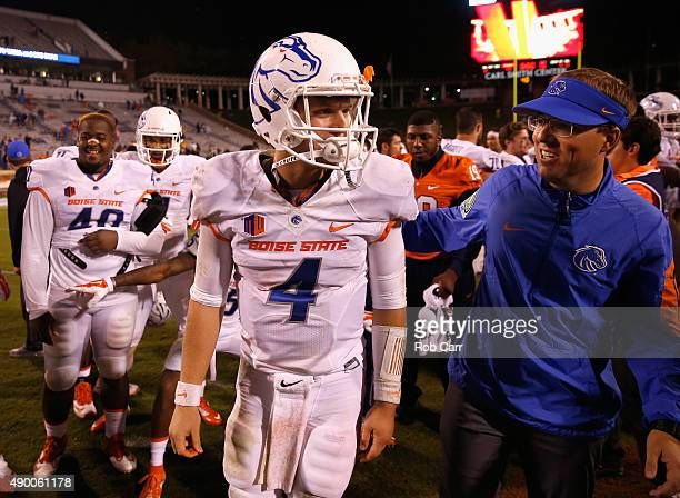 Quarterback Brett Rypien of the Boise State Broncos walks off the field following their 5614 win over the Virginia Cavaliers at Scott Stadium on...