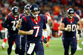 Quarterback Brian Hoyer of the Houston Texans jogs off the field at halftime during the AFC Wild Card Playoff game against the Kansas City Chiefs at...