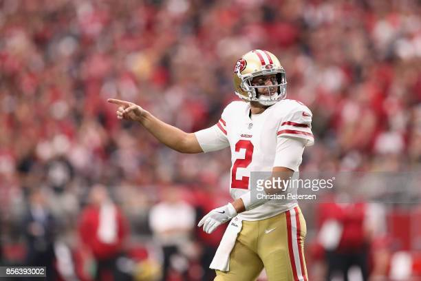 Quarterback Brian Hoyer of the San Francisco 49ers gestures during the first half of the NFL game against the Arizona Cardinals at the University of...