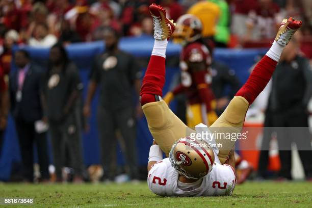 Quarterback Brian Hoyer of the San Francisco 49ers looks on against the Washington Redskins during the second quarter at FedExField on October 15...