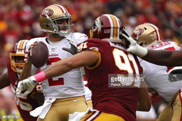 Quarterback Brian Hoyer of the San Francisco 49ers looks to pass against the Washington Redskins during the first half at FedExField on October 15...