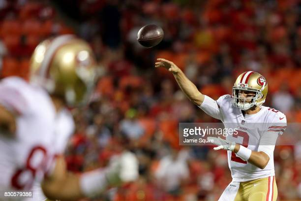 Quarterback Brian Hoyer of the San Francisco 49ers passes during the preseason game against the Kansas City Chiefs at Arrowhead Stadium on August 11...