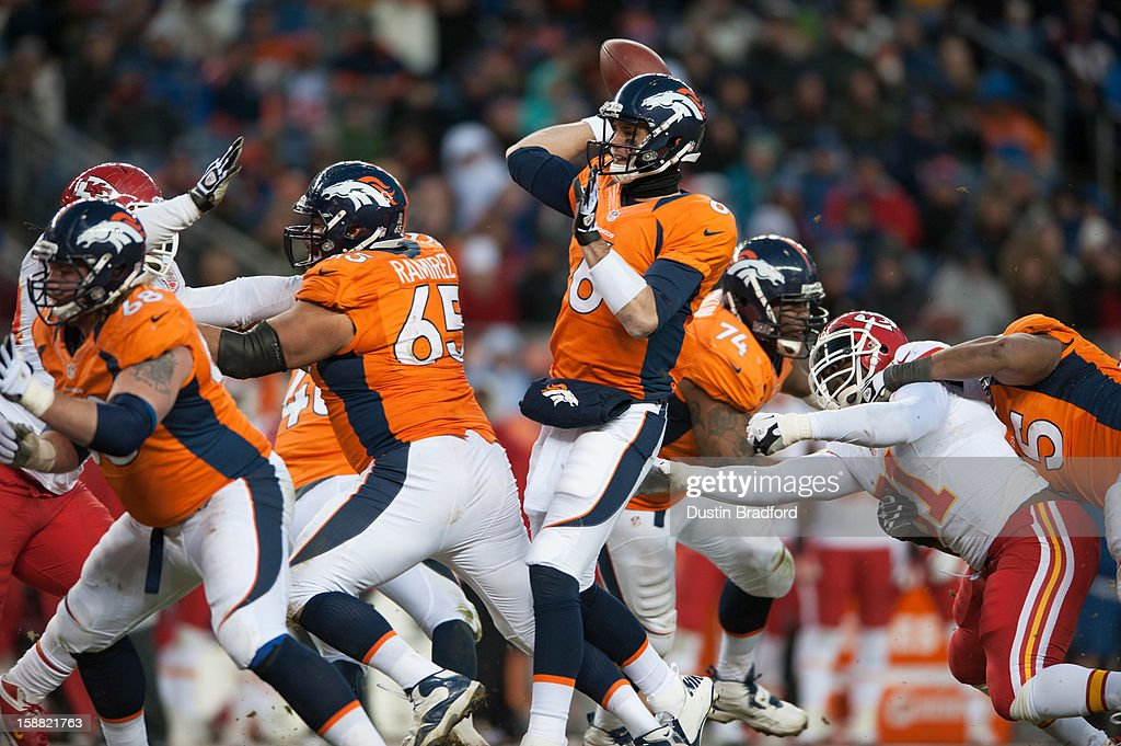 Quarterback Brock Osweiler #6 of the Denver Broncos passes against the Kansas City Chiefs during a game at Sports Authority Field Field at Mile High on December 30, 2012 in Denver, Colorado. The Broncos defeated the Chiefs 38-3.