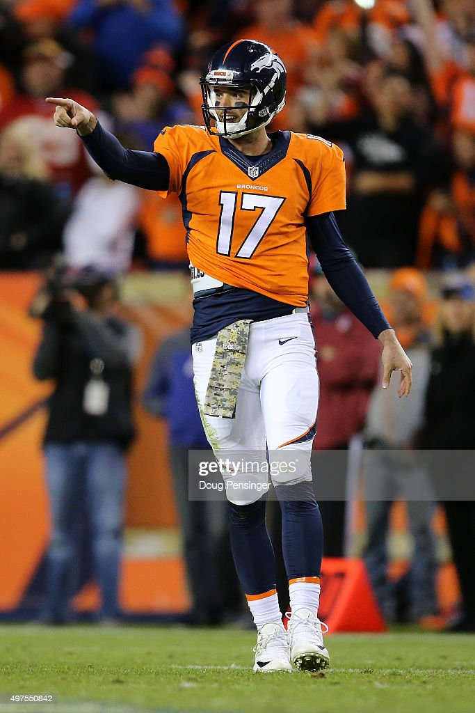 Quarterback <a gi-track='captionPersonalityLinkClicked' href=/galleries/search?phrase=Brock+Osweiler&family=editorial&specificpeople=6501030 ng-click='$event.stopPropagation()'>Brock Osweiler</a> #17 of the Denver Broncos reacts against the Kansas City Chiefs at Sports Authority Field at Mile High on November 15, 2015 in Denver, Colorado. The Chiefs defeated the Broncos 29-13.