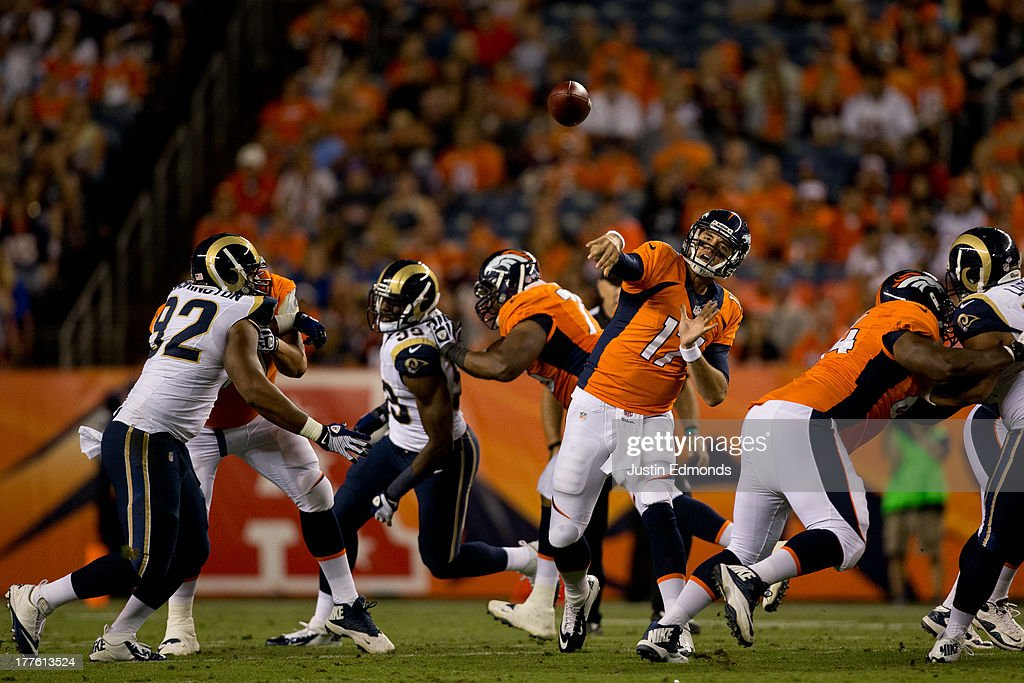 Quarterback Brock Osweiler #17 of the Denver Broncos throws a pass against the St. Louis Rams at Sports Authority Field Field at Mile High on August 24, 2013 in Denver, Colorado. The Broncos defeated the Rams 27-26.