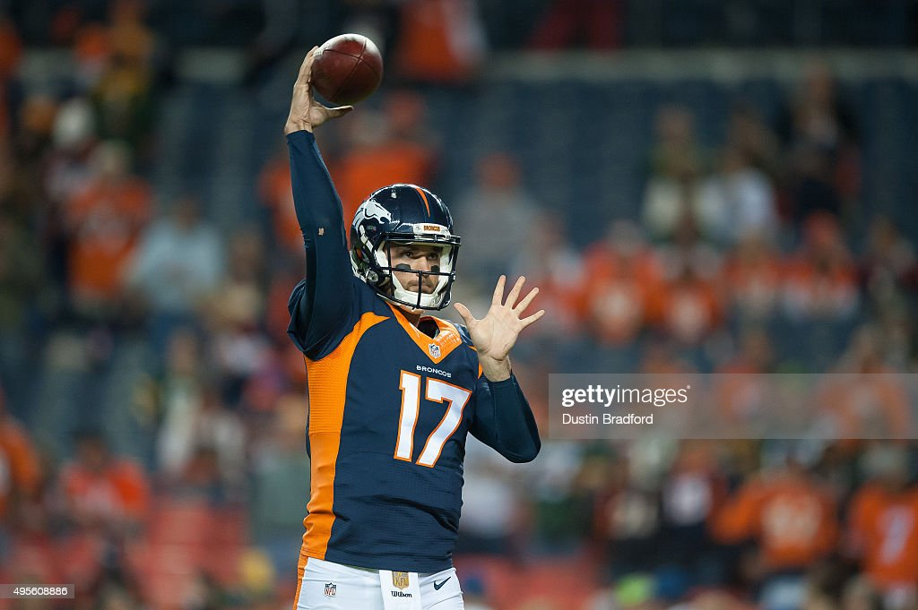 Quarterback Brock Osweiler #17 of the Denver Broncos throws as he warms up before a game against the Green Bay Packers at Sports Authority Field at Mile High on November 1, 2015 in Denver, Colorado.
