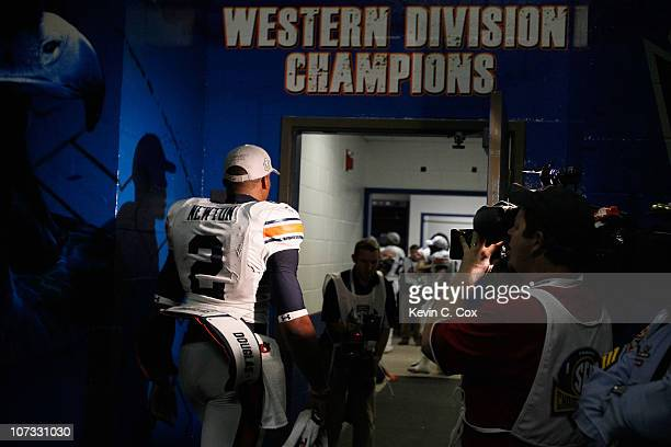 Quarterback Cam Newton of the Auburn Tigers enters the locker room after their 5617 win over the South Carolina Gamecocks during the 2010 SEC...